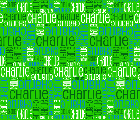 Personalised Name Design - Greens and Blue fabric by shelleymade on Spoonflower - custom fabric
