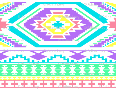 Aztec Geometric Pattern - Bright Pastel Colors, perfect repeats
