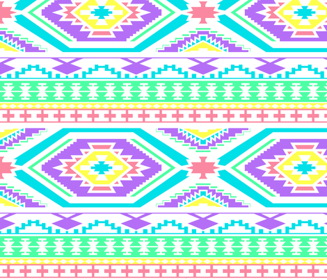 Aztec Geometric Pattern - Bright Pastel Colors, perfect repeats fabric by thecumulusfactory on Spoonflower - custom fabric