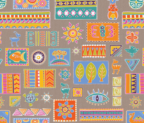 tribalGeomCombo fabric by thelazygiraffe on Spoonflower - custom fabric