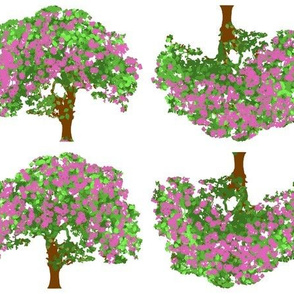Happy trees with pink flowers