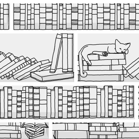 Library Cat- swatch size fabric by ottdesigns on Spoonflower - custom fabric