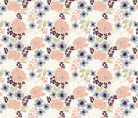 Raleigh Dogwood Blush Half Scale fabric by chrissievh on Spoonflower - custom fabric