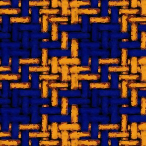 silkscreen woven houndstooth -- cobalt and pumpkin