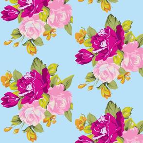 spring vintage floral blue/pink