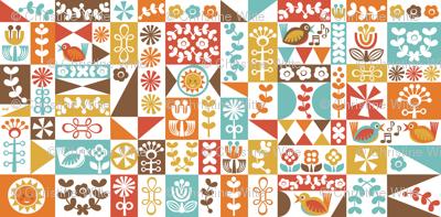 Folky Floral Geometrics (warm)