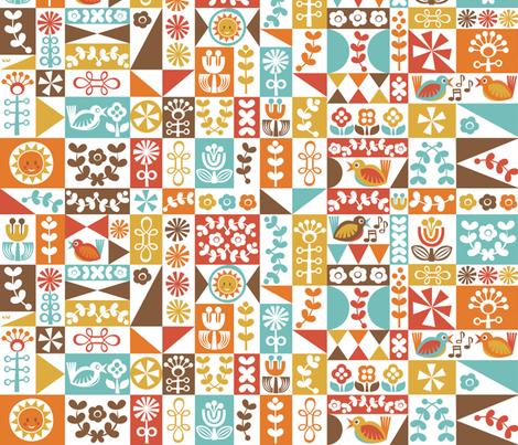 Folky Floral Geometrics (warm) fabric by studio_amelie on Spoonflower - custom fabric