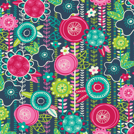Fun Floral fabric by laura_mayes on Spoonflower - custom fabric