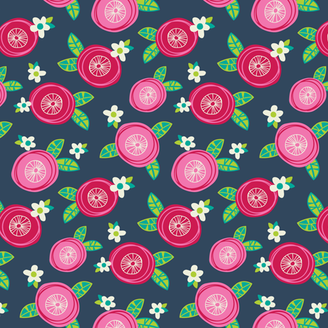 Pink Red Floral fabric by laura_mayes on Spoonflower - custom fabric