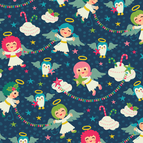 Christmas_Angels fabric by laura_mayes on Spoonflower - custom fabric