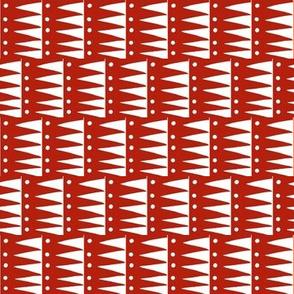 Sawtooth Squares Dark Red White