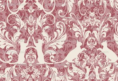 White On Pink Cat Damask Wallpaper Kociara Spoonflower