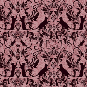 black on pink cat damask