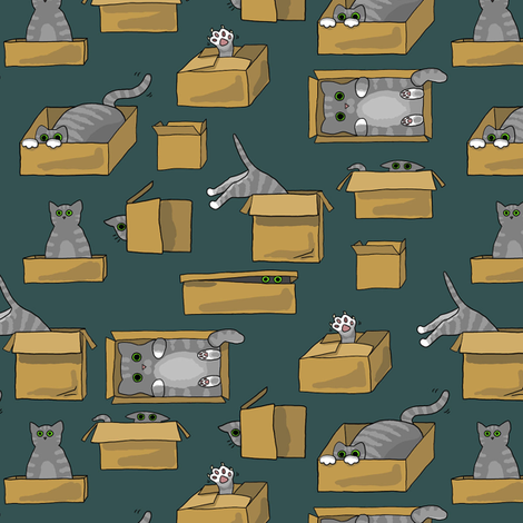 Boxed Cats fabric by amber_morgan on Spoonflower - custom fabric