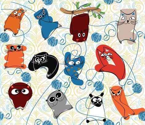 DAMASK CRAZY CATS fabric by deeniespoonflower on Spoonflower - custom fabric