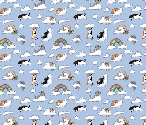 Cloud Cats fabric by amber_morgan on Spoonflower - custom fabric