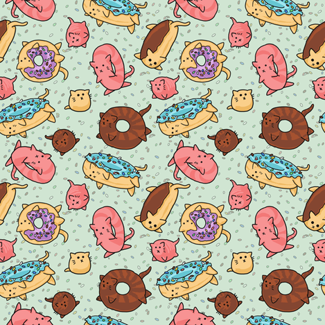 Donut Cats fabric by amber_morgan on Spoonflower - custom fabric