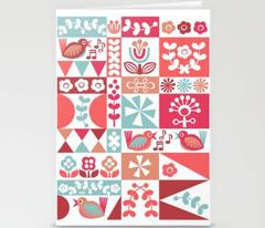 Folky Floral Geometrics (reds)