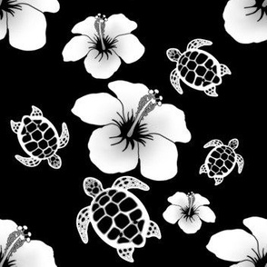 Black And White Honu And Hibiscus