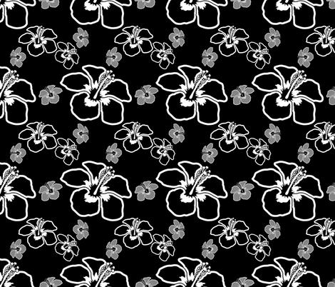Black And White Hibiscus Flowers fabric by macdonaldcreativestudios on Spoonflower - custom fabric