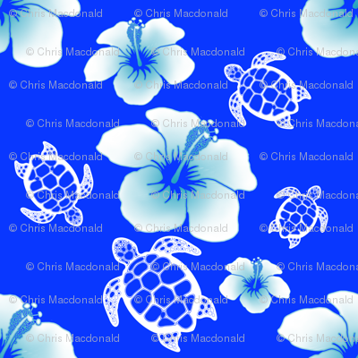 Blue And White Honu And Hibiscus