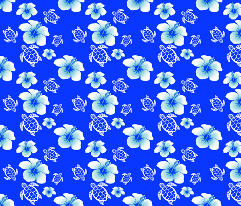 Blue And White Honu And Hibiscus fabric by macdonaldcreativestudios on Spoonflower - custom fabric