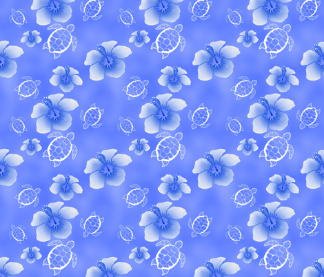 Soft Blue Honu And Hibiscus fabric by macdonaldcreativestudios on Spoonflower - custom fabric