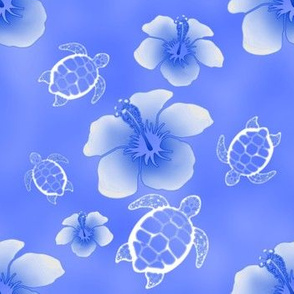 Soft Blue Honu And Hibiscus