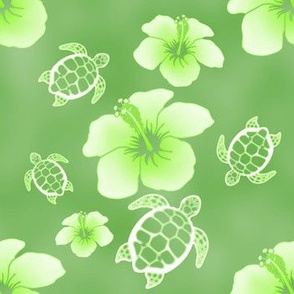 Soft Green Honu And Hibiscus Flowers