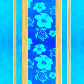 Soft Blue Hibiscus And Honu Stripes