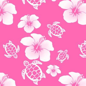 Pink And White Honu And Hibiscus Flowers