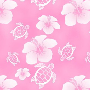 Soft Pink Honu And Hibiscus Flowers