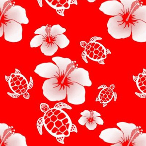 Red And White Honu And Hibiscus Flowers