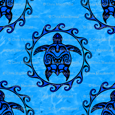 Tribal Maori Sun And Turtle