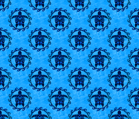 Tribal Maori Sun And Turtle fabric by macdonaldcreativestudios on Spoonflower - custom fabric