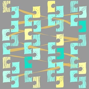 Vine in Teal Yellow and Gray