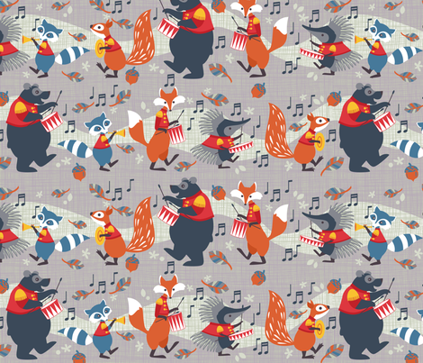 Woodland marching band fabric by cjldesigns on Spoonflower - custom fabric