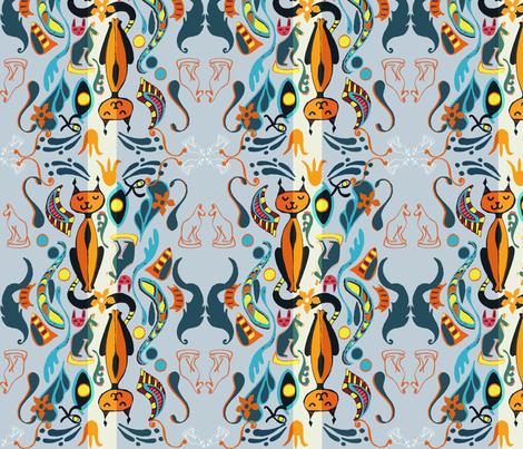 Bastet Damask fabric by slumbermonkey on Spoonflower - custom fabric