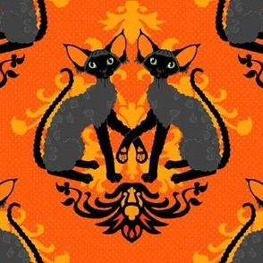 Devon Rex Halloween Damask