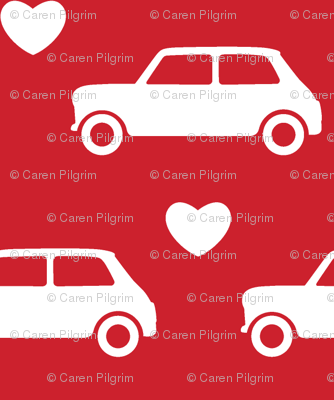 Mini Cooper Hearts - Red - Large