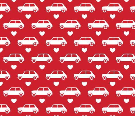 Mini Cooper Hearts - Red - Large fabric by cpilgrim on Spoonflower - custom fabric