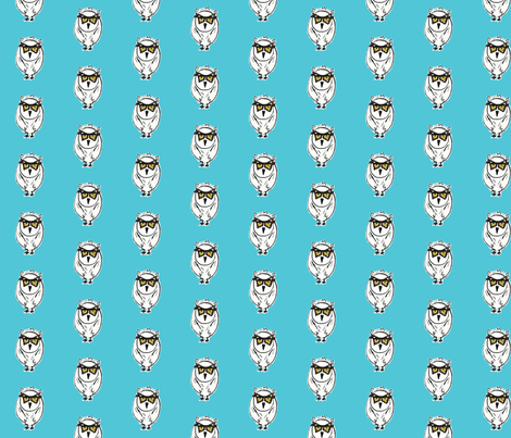 Owl in Aqua fabric by kristinbell on Spoonflower - custom fabric