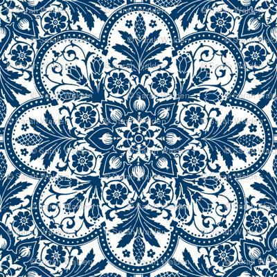 Bourgogne tile lonely angel blue white bright Bright blue tile