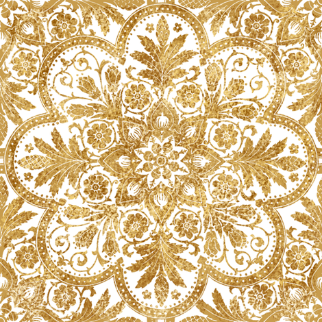 Bourgogne Tile Gilt Gold And White Fabric
