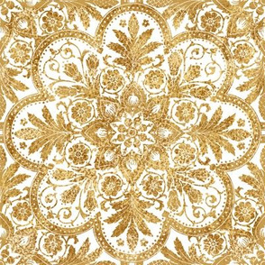 Bourgogne Tile ~ Gilt Gold and White