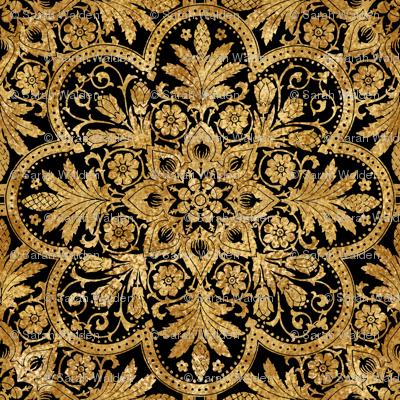 Bourgogne Tile ~ Gilt Gold and Black
