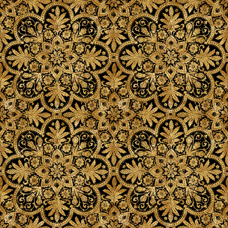 Bourgogne Tile ~ Gilt Gold and Black  fabric by peacoquettedesigns on Spoonflower - custom fabric