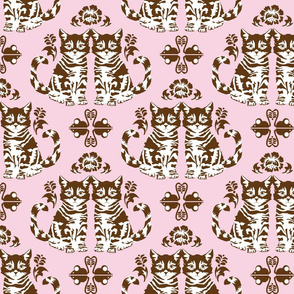 Kittens & Toy Mice Damask