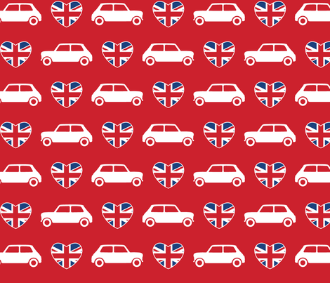Mini Cooper Hearts - Union Jack Red - Large fabric by cpilgrim on Spoonflower - custom fabric