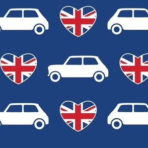 Mini Cooper Hearts - Union Jack Blue